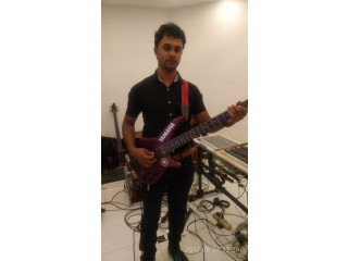 Bass guitar with back amp