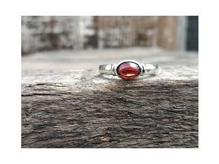 Natural Garnet Silver Ring