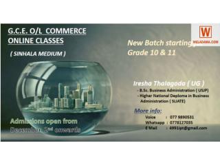 G.C.E O/L Commerce online classes