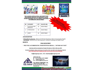 Immediate Recruitment for Nadec Factory Saudi Arabia - Offered