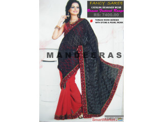 BLACK & RED FESTIVAL BRASSO RANGE SAREES - For Sale