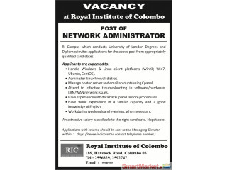 Systems/ network administrator - Offered