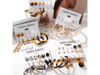 6 Pairs Fashion Drop Earrings Set